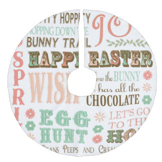 Modern Vintage Easter typography word collage Faux Linen Tree Skirt