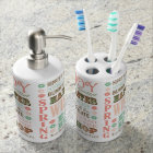 Modern Vintage Easter typography word collage Soap Dispenser And Toothbrush Holder