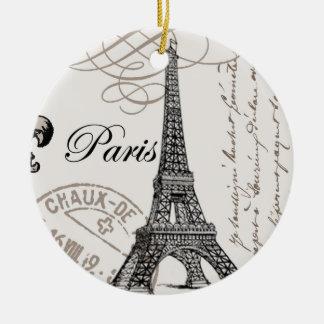 modern vintage Eiffel Tower Round Ceramic Ornament