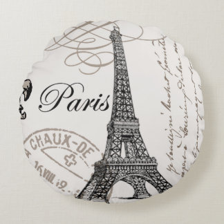 MODERN VINTAGE EIFFEL TOWER ROUND PILLOW