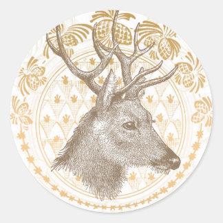 Modern Vintage Elegant Gold Christmas Round Sticker