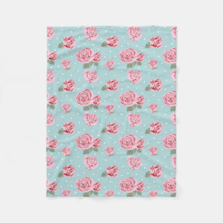Modern Vintage Elegant Rose Fleece Blanket