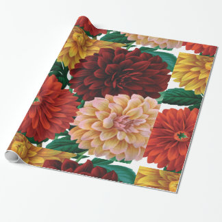 Modern vintage fall dahlias wrapping paper