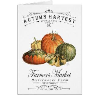 modern vintage fall gourds and pumpkin card
