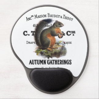 modern vintage fall squirrel gel mouse pads