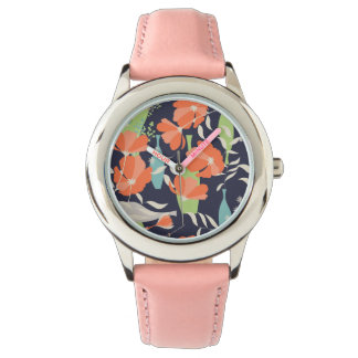 Modern vintage floral Coquelicot leaves pattern Wristwatch