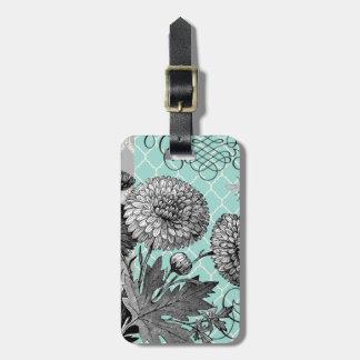 Modern vintage floral luggage tag