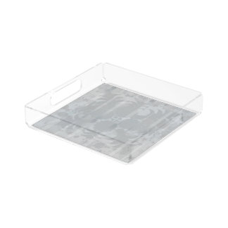 Modern Vintage Floral Silver Grey Pattern Acrylic Tray