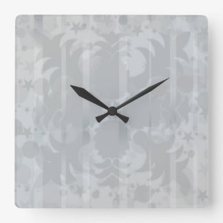 Modern Vintage Floral Silver Grey Pattern Square Wall Clock