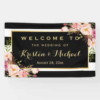 Modern Vintage Floral Stripes Decor Wedding Party Banner