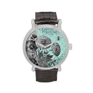 Modern vintage floral wristwatches