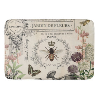 Modern Vintage French Bee garden Bath Mat