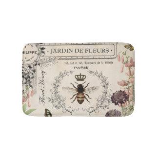 Modern Vintage French Bee garden Bath Mat