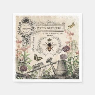 Modern Vintage French Bee garden Disposable Napkins