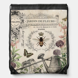 Modern Vintage French Bee garden Drawstring Bag