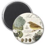 modern vintage French bird and nest 2 Inch Round Magnet