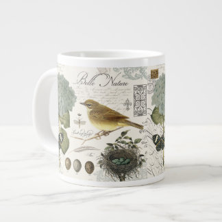 modern vintage French bird and nest Jumbo Mug