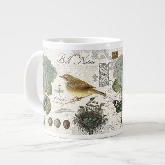 modern vintage French bird and nest Large Coffee Mug