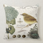modern vintage French bird and nest Throw Pillow
