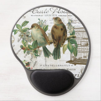 Modern Vintage French birds and birdcage Gel Mouse Pads