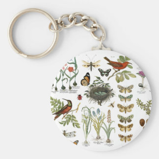 modern vintage french botanical birds and flowers keychain