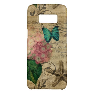 modern vintage french botanical seashell starfish Case-Mate samsung galaxy s8 case