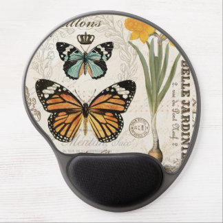 Modern vintage french butterflies gel mousepads