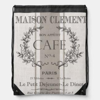 modern vintage french cafe drawstring bag