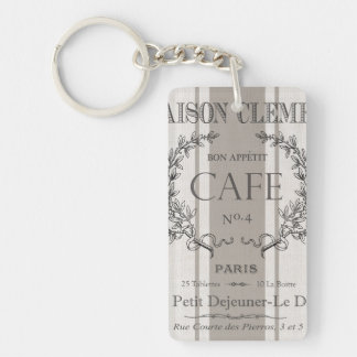 modern vintage french cafe acrylic keychains