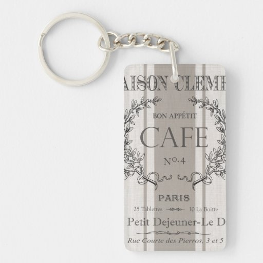 modern vintage french cafe acrylic keychains