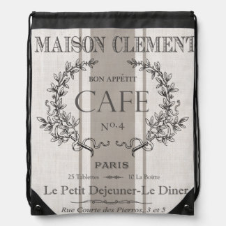 modern vintage french cafe drawstring bags