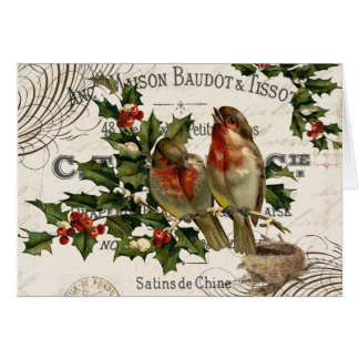 modern vintage French Christmas birds card