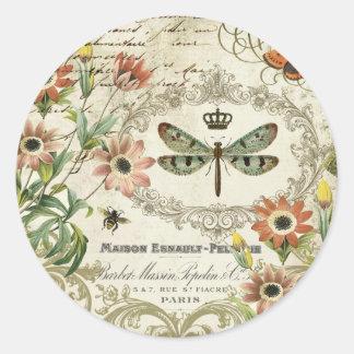 Modern Vintage French Dragonfly Classic Round Sticker