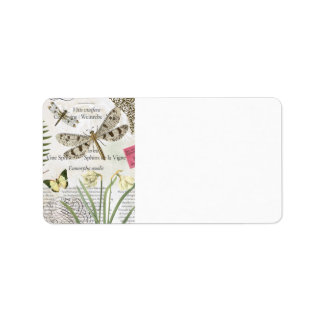 modern vintage french dragonfly personalized address labels