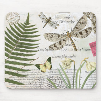 modern vintage french dragonfly mouse pad