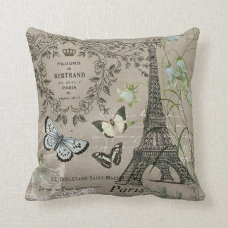modern vintage French Eiffel Tower garden pillow