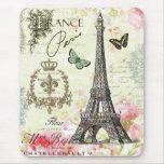 modern vintage french eiffel tower mouse pad