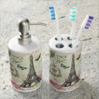 modern vintage french eiffel tower soap dispenser and toothbrush holder
