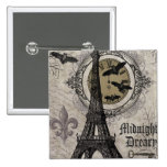modern vintage french halloween Eiffel tower 2 Inch Square Button