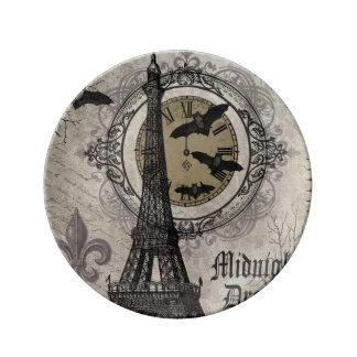 modern vintage french halloween Eiffel tower Porcelain Plates