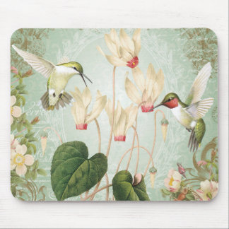 Modern Vintage French Hummingbirds Mouse Pad