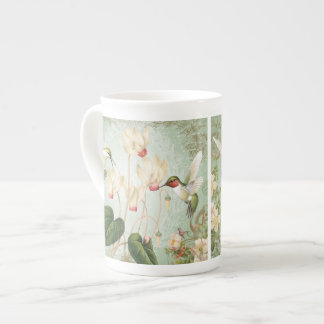 Modern Vintage French Hummingbirds Tea Cup