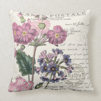 modern vintage french lavender floral throw pillow