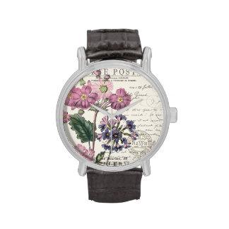 modern vintage french lavender floral wrist watch
