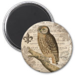 modern vintage french owl 2 inch round magnet