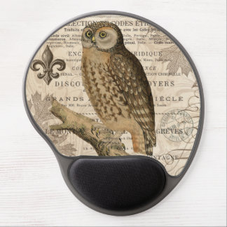 modern vintage french owl gel mouse pads
