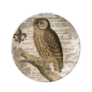 modern vintage french owl porcelain plates