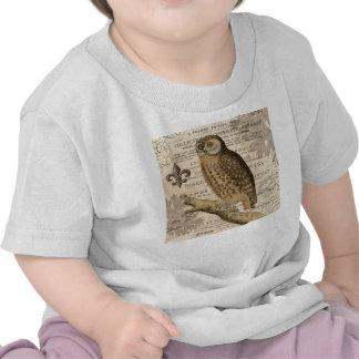 modern vintage french owl tees