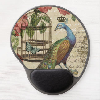modern vintage french peacock gel mouse mat