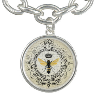 modern vintage french queen bee charm bracelet